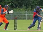 Nepal's Paras Khadka defends during the ICC World Cricket League Championship in Amsteelveen, Netherlands, on Saturday, August 13, 2016. Courtesy: Eurosports